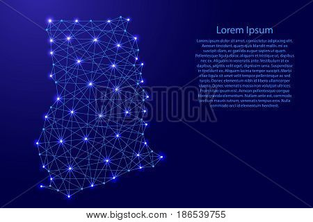 Map of Ghana from polygonal blue lines and glowing stars vector illustration