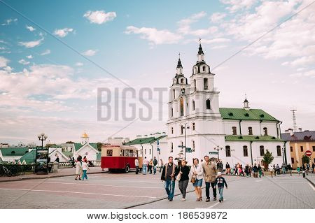 Minsk, Belarus - September 3, 2016: Family People Walking Near Cathedral Of The Holy Spirit During Celebration Of Day Of Minsk City In A Historic Area Nemiga.