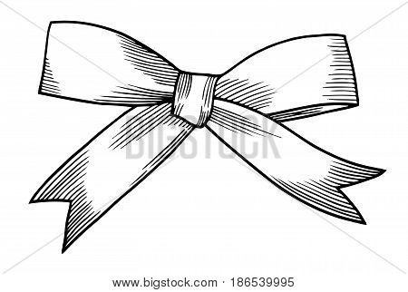 A bow ribbon gift in a vintage woodcut engraved etching style