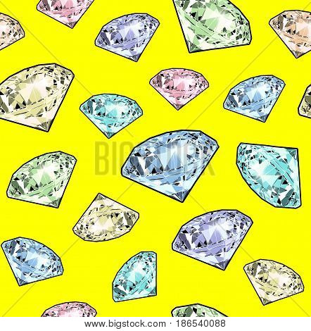 Bright sparkling brilliant on a yellow background. Seamless pattern. Realistic graphic illustration.