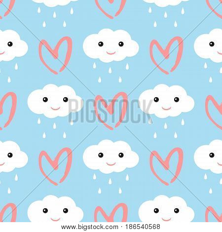 Clouds with a smiling face and raindrops. Heart drawn by hand brush strokes. Cute seamless pattern. Blue white pink. Vector illustration.