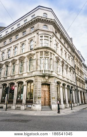 LONDON, UK, 19TH NOVEMBER 2016 - Ornate building on the corner of King Street and Gresham Street London UK