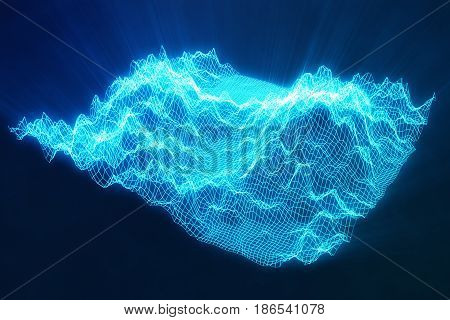 3D illustration abstract blue landscape bacgkround. Cyberspace grid. Concept internet connections in cloud computing