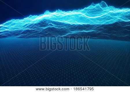 3D illustration concept internet connections in cloud computing. Cyberspace landscape grid. 3d technology. Abstract blue landscape on black background with light rays