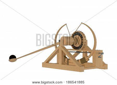 catapult of da vinci isolated on white. 3d rendering