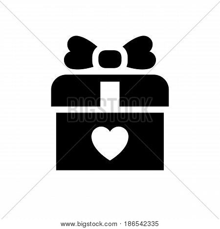 Present. Black icon isolated on white background
