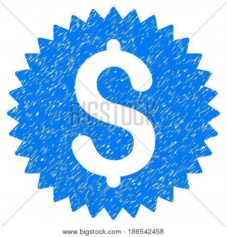 Grunge Financial Seal icon with grunge design and dirty texture. Unclean vector blue pictogram for rubber seal stamp imitations and watermarks. Draft sticker symbol.