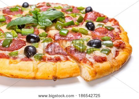 Sliced Pepperoni Pizza with Green pepper and Black Olives  isolated on white