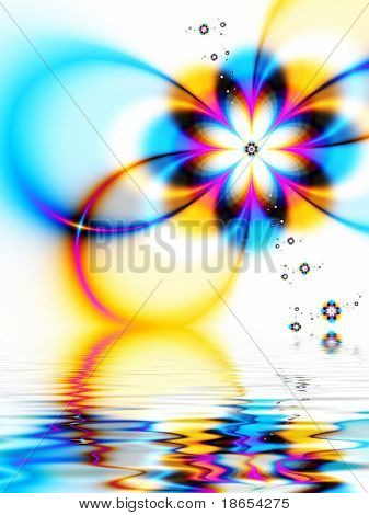Fractal image of a spring daisy chain reflected in water.