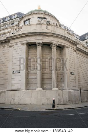 Rear view of the Bank of England London UK. The second oldest central bank in the world