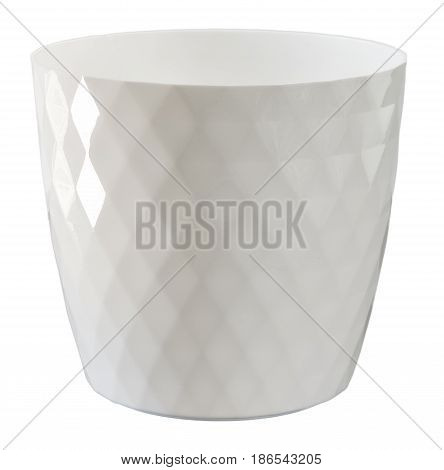 White flowerpot isolated on white. Path included