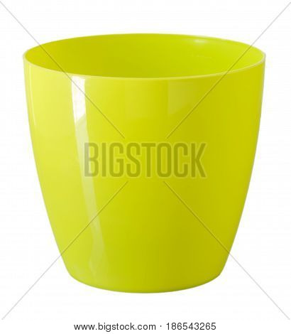 Yellow flowerpot isolated on white. Path included