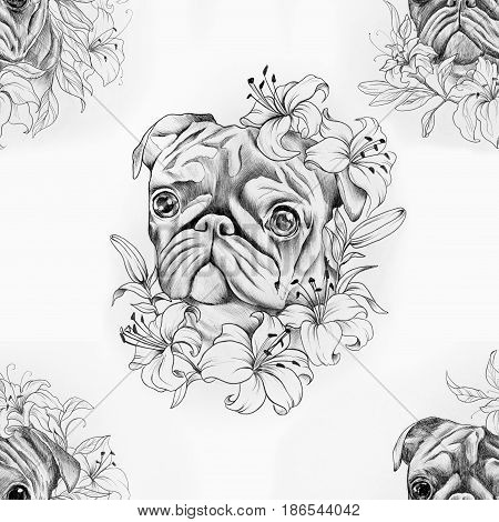 Seamless pug pattern in flowers on a white background.
