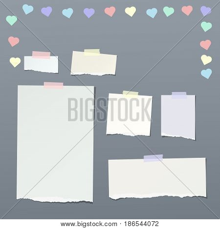 Pieces of ripped note, notebook, copybook paper strips, sheets stuck with sticky tape, decorated with colorful hearts
