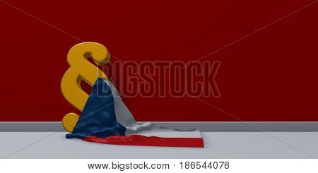 paragraph symbol and flag of the Czech Republic - 3d rendering
