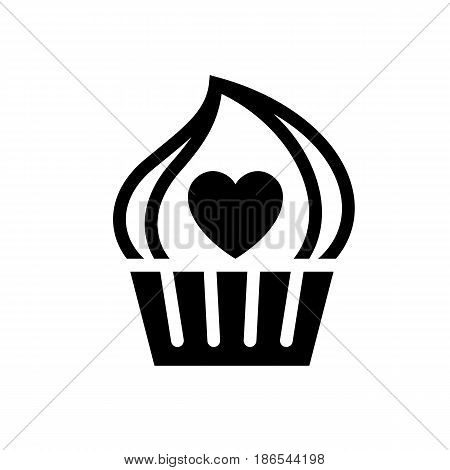Love cake. Black icon isolated on white background