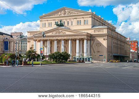 Moscow, Russia - 16 August 2016: Bolshoi Theater, Ohotniy Ryad street. The most famous theatre of Russia. Thousands of tourists annually visit the theatre in Moscow.