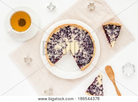 Dessert With Berry Pie, Cup Of Green Tea On White Background. Top View, Flat Lay. Summer Dessert.