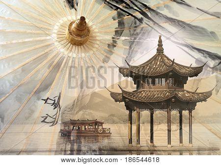Chinese Xihu lake in Hangzhou and traditional paper umbrella