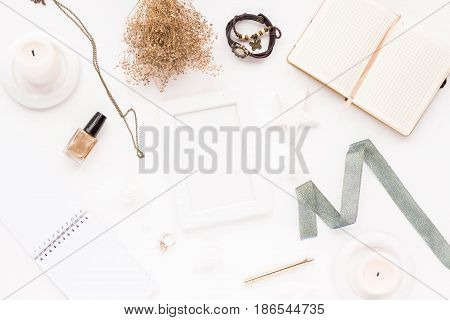 Feminine Desk Workspace With White Frame, Notebook, Empty Blank, Stylish Woman Gold Accessories, Whi