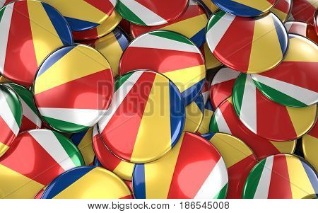Seychelles Badges Background - Pile Of Seychelles Flag Buttons.