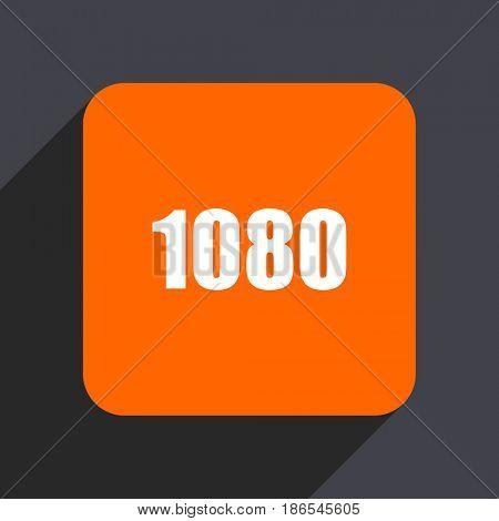 1080 orange flat design web icon isolated on gray background