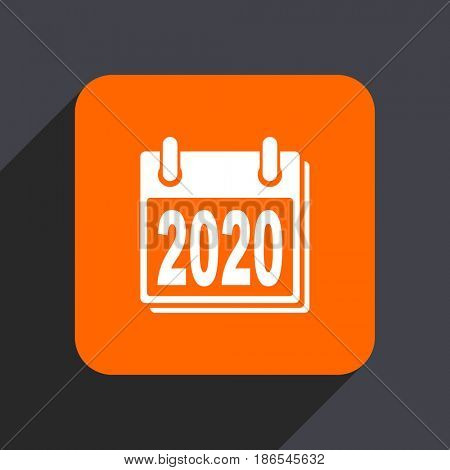 New year 2020 orange flat design web icon isolated on gray background
