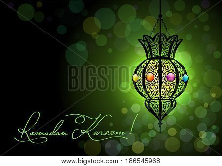 Ramadan Kareem greeting card with a silhouette of Arabic lamp and hand drawn calligraphy lettering on abstract colorful background. Glitter stars background. Translation generous Ramadhan.