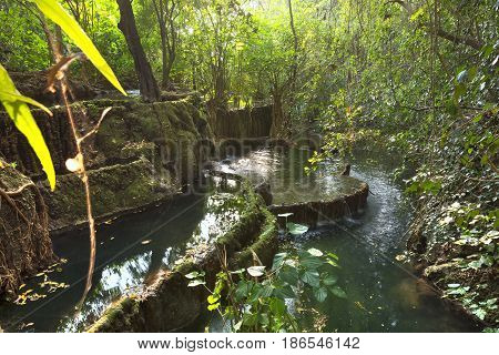 Terraces of natural freshwater pools in exotic jungle environment in Rio la Venta Canyon in Chiapas Mexico