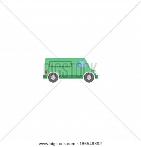 Flat Van Element. Vector Illustration Of Flat Carriage Isolated On Clean Background. Can Be Used As Van, Carriage And Vehicle Symbols.