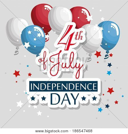 American indepence day card with ballons and stars over white background. Vector illustration.