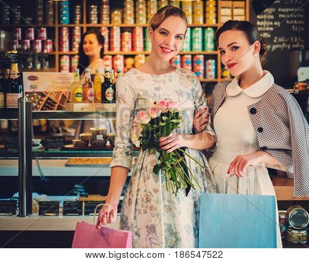 Young ladies shopping in a bakery