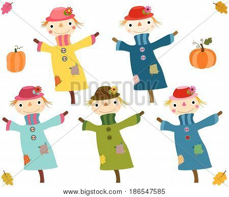 Cute autumn scarecrows with pumpkins and leaves