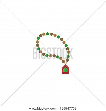 Flat Rosary Islam Element. Vector Illustration Of Flat Bead Isolated On Clean Background. Can Be Used As Rosary, Islam And Bead Symbols.