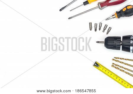screwdriver with drill isolated on white background