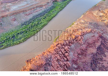 Canyon of Colorado River near Moab, Utah - sunrise aerial view