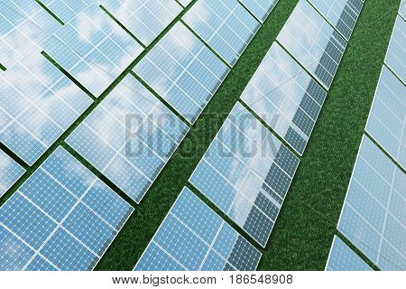 3D illustration solar panels with clouds. Energy and electricity. Alternative energy, eco or green generators. Power, ecology, technology, electricity