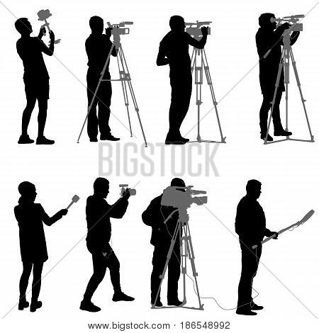 Set cameraman with video camera. Silhouettes on white background.
