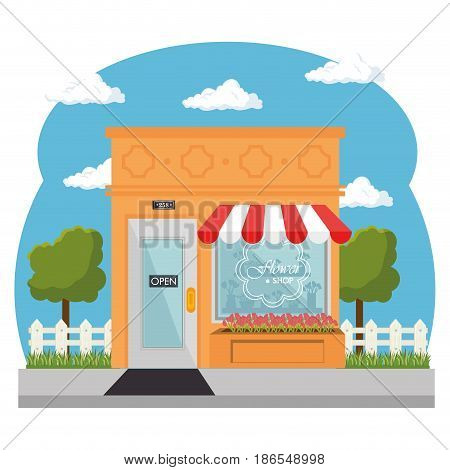 Seen from outside, flower shop with red and white awning, and shopwindow over white background. Vector illustration.