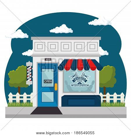 Seen from outside, barber shop with red and blue awning, and shopwindow over white background. Vector illustration.