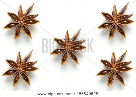 Star anise close-up isolated on white background