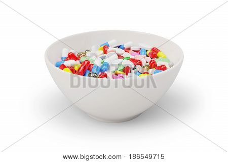Medicine pills and capsules in a breakfast bowl