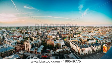 Riga, Latvia - July 2, 2016: Riga Panoramic Cityscape. Top Aerial View Of Baznicas Street And Crossroads Of Freedom Street And Dzirnavu Street In Sunny Summer Evening.