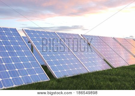 3D illustration solar power generation technology. Alternative energy. Solar battery panel modules with scenic sunset with blue sky with sun light. Lighting and background are from NoEmotion HDRs