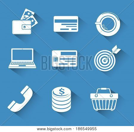 Shopping related objecs silhouettes over blue background. Vector illustration.