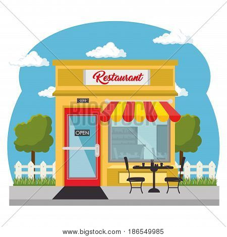 Seen from outside, restaurant with red and yellow awning, and shopwindow over white background. Vector illustration.