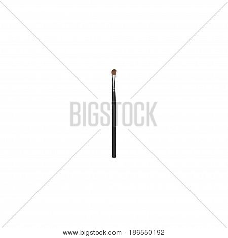 Realistic Brow Makeup Tool Element. Vector Illustration Of Realistic Eye Paintbrush Isolated On Clean Background. Can Be Used As Eye, Brow And Brush Symbols.