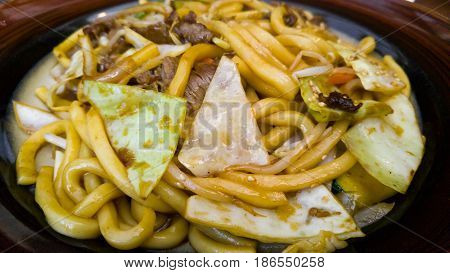 Stir-fry Udon Noodles with Beef and Vegetables