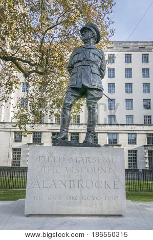 Field Marshal Viscount Alan Brooke Statue in Whitehall London