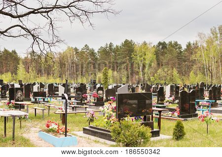 Christian cemetery with monuments, tombstones and crosses in the forest